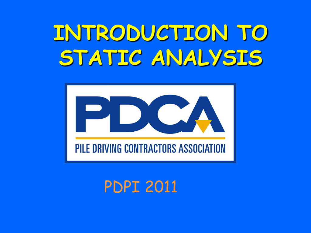 chapter 9 - static analysis - Pile Driving Contractors
