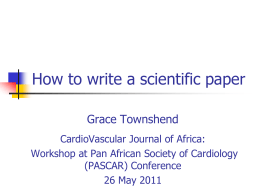 How to write a scientific paper - the Cardiovascular Journal of Africa