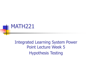 Ch  7 Hypothesis Testing with One Sample