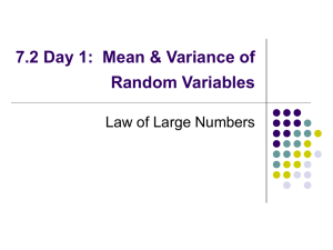 7.2 Day 1: Mean & Variance of Random Variables
