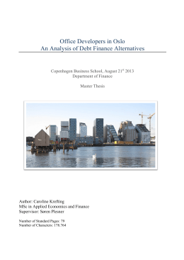 Office Developers in Oslo An Analysis of Debt Finance Alternatives