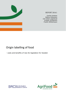 Origin labelling of food - Agrifood Economics Centre