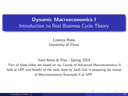 Dynamic Macroeconomics I Introduction to Real