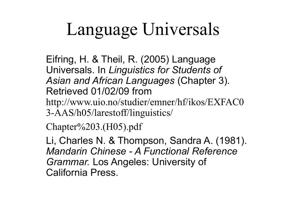 TESL 3050 Language Universals