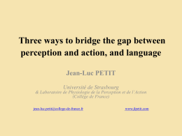 Three ways to bridge the gap between perception and action, and
