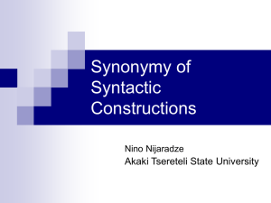 Synonymy of Syntactic Constructions