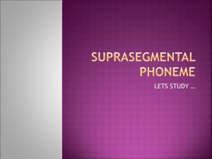 SUPRASEGMENTAL PHONEME