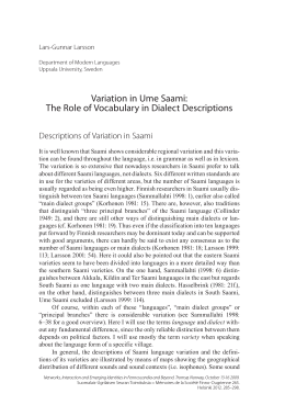 Variation in Ume Saami: The Role of Vocabulary in Dialect