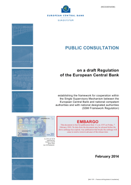 Public consultation on a draft Regulation of the ECB