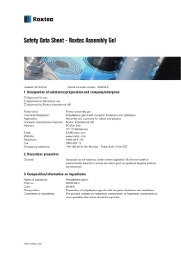 Safety Data Sheet - Roxtec Assembly Gel