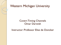 Covert Timing Channels - Western Michigan University