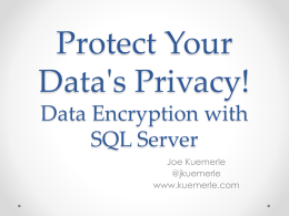 Data Encryption with SQL Server