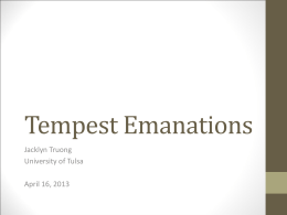 Tempest Attacks - The University of Tulsa