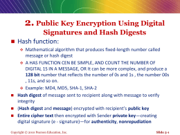 2. Public Key Encryption Using Digital Signatures and Hash Digests