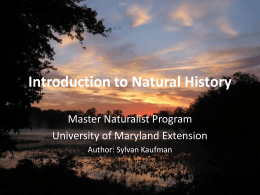Introduction to Natural History - AGNR Groups
