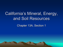 California`s Mineral, Energy, and Soil Resources