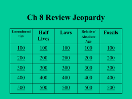Ch 8 Rock Record Jeopardy