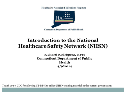 Introduction to the NHSN