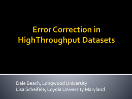 Error Correction in HighThroughput Datasets