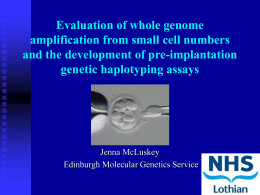 Evaluation of whole genome amplification from small cell numbers