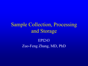 Sample Collection, Processing and Storage