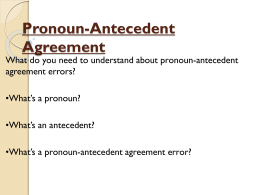 Pronoun-Antecedent Agreement Powerpoint