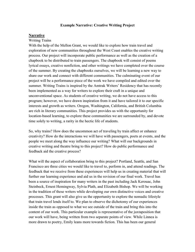 example narrative: creative writing project narrative writing trains