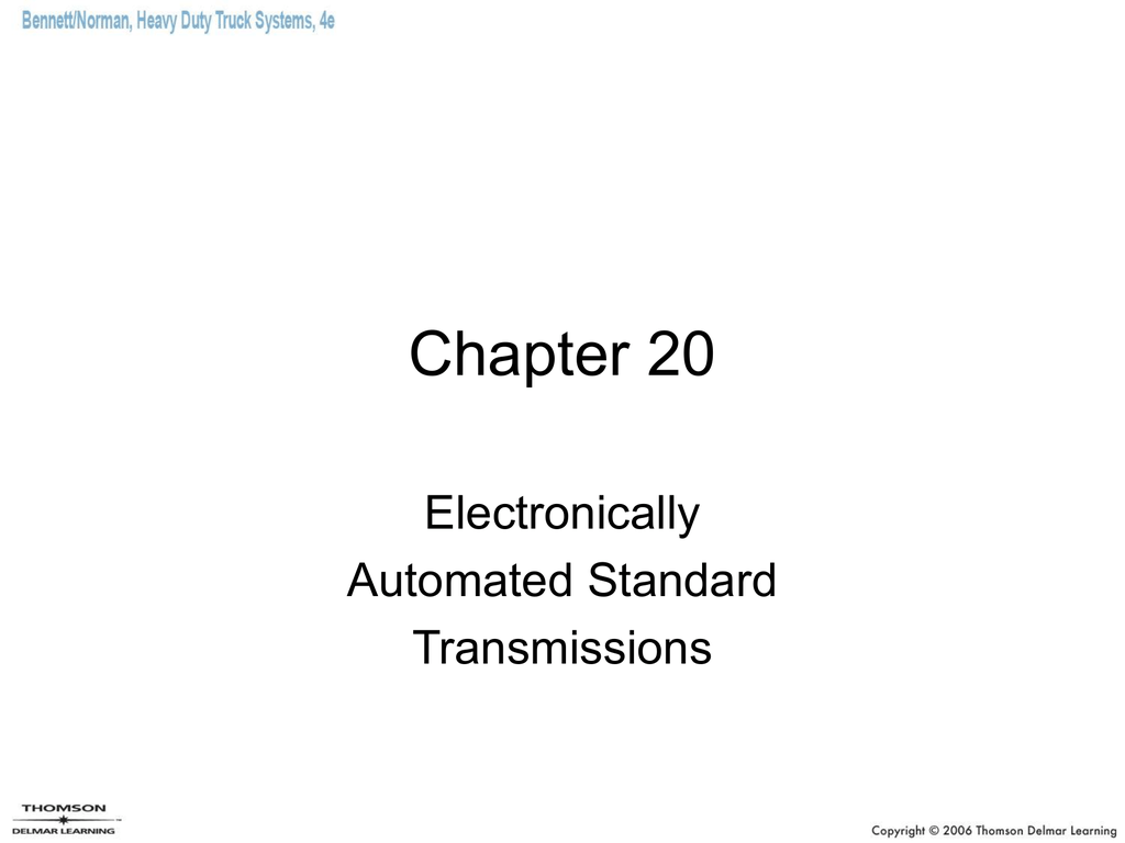 Heavy-Duty Truck Sytems Chapter 20