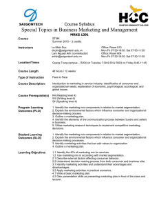 MRKG 1391 - Special Topics in Business Marketing