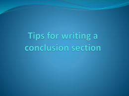 Writing a conclusion section