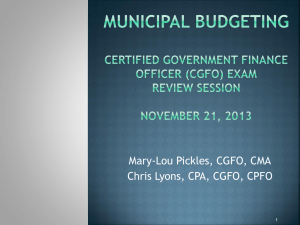 Municipal Budgeting Certified Govern Finance Officer (CGFO) Exam