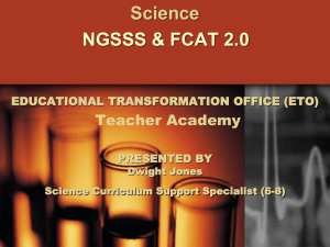 NGSSS & FCAT 2.0 for 6-8 Science