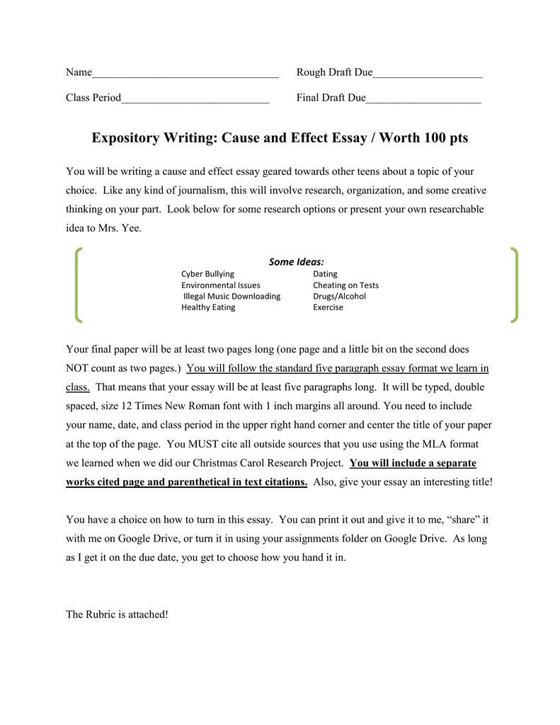 organization method for cause and effect essay A cause-effect essay tells how one in this case, the organization for this essay could have 138 unit 6 • cause-effect essays focus-on-effects method cause.