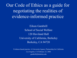 Our Code of ethics as a guide for negotiating the realities of