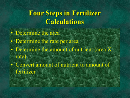 Four Steps in Fertilizer Calculations