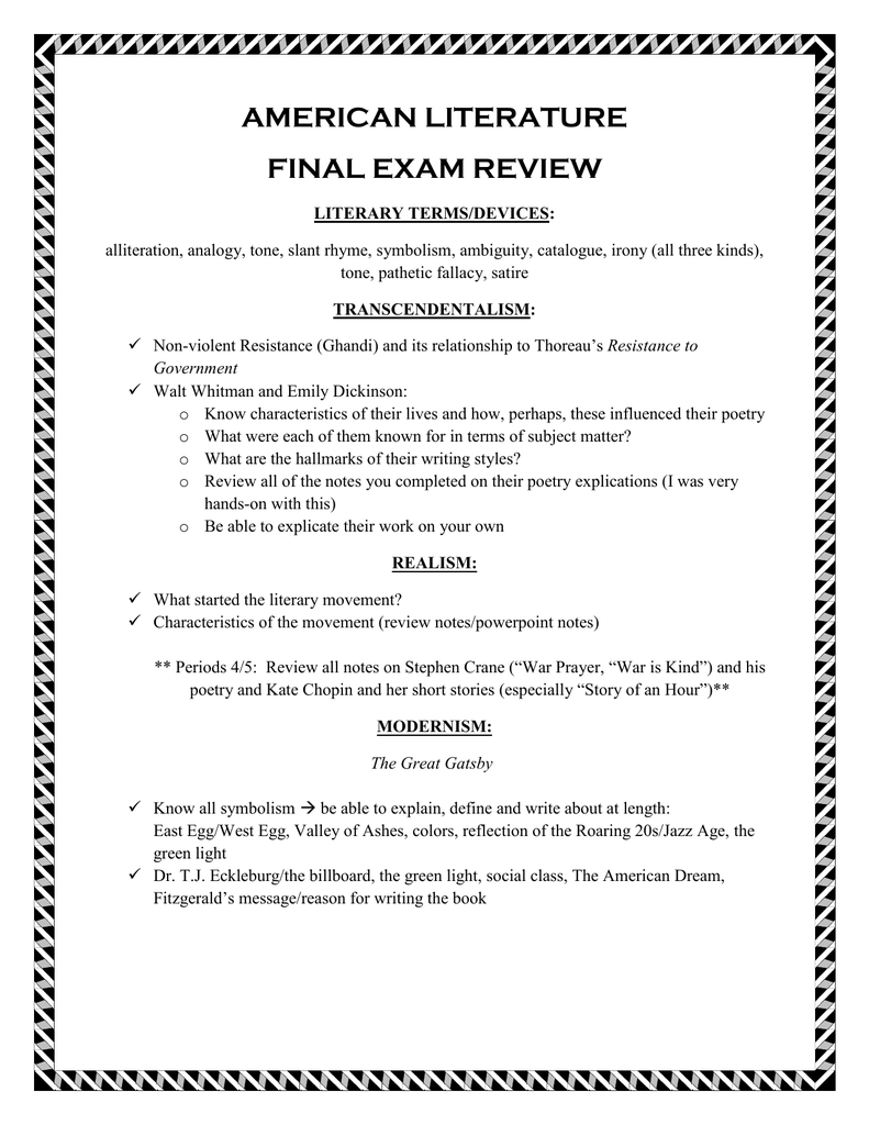 American Literature Final Exam Review Literary