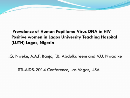 Prevalence of Human papilloma Virus DNA In HIV