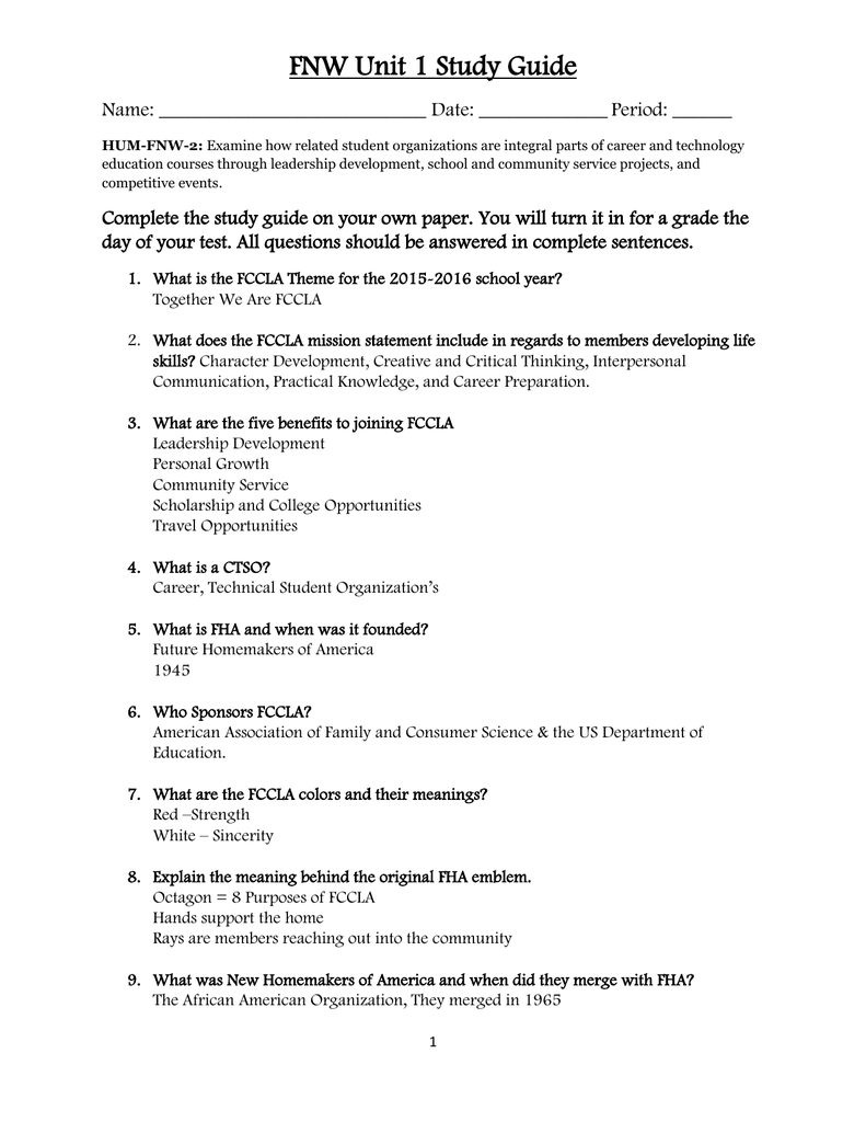 FCCLA Study Guide Henry County Schools – Fccla Planning Process Worksheet