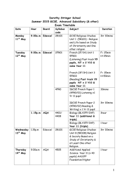 Summer 2015 AS/GCSE and other, school timetable
