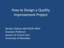 How to Design a Quality Improvement Project