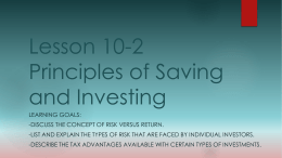 Lesson 10-2 Principles of Saving and Investing