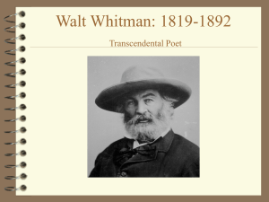 Walt Whitman Transcendental Poet