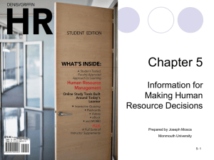 Chapter 5 Information for Making Human Resource Decisions