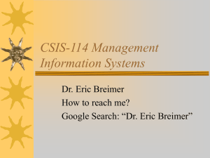 CSIS-114 Management Information Systems