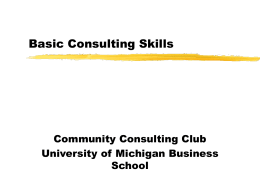 Basic Consulting Skills - University of Michigan