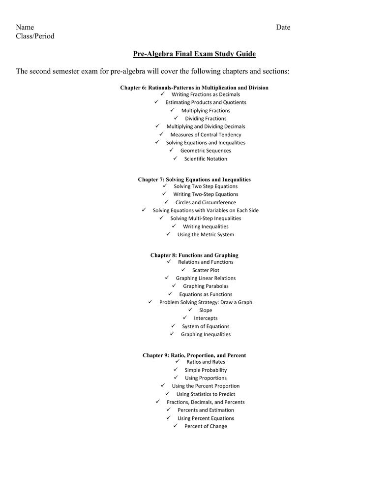 Pre-Algebra Test (10