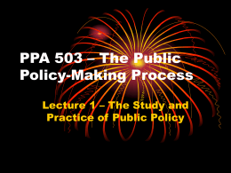 PPA 503 – The Public Policy