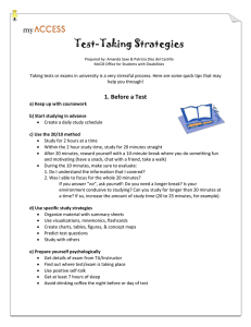 Test Taking Strategies document