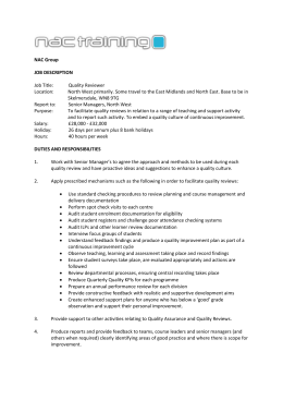 Job description personal spec Quality Reviewer 2015 – NW