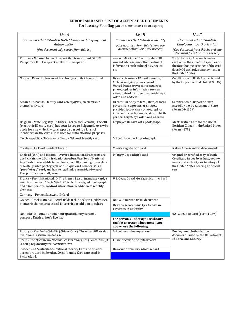 European Based I-9 Identity Proofing Document